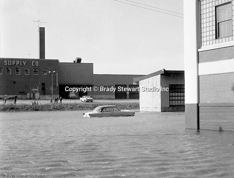 Pittsburgh PA:  View of the high water from the Allegheny River near River Avenue and the General Electric Supply building on the North Side.