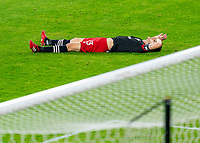 WASHINGTON, DC - NOVEMBER 8: Frederic Brillant #13 of D.C. United lies on the field after a game between Montreal Impact and D.C. United at Audi Field on November 8, 2020 in Washington, DC.