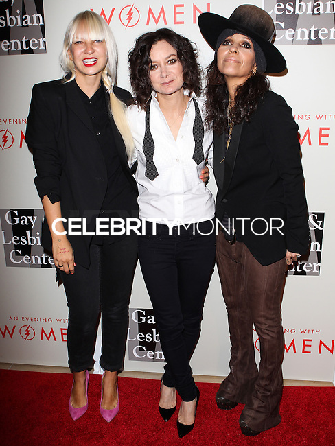 """BEVERLY HILLS, CA, USA - MAY 10: Sia, Sara Gilbert, Linda Perry at the """"An Evening With Women"""" 2014 Benefiting L.A. Gay & Lesbian Center held at the Beverly Hilton Hotel on May 10, 2014 in Beverly Hills, California, United States. (Photo by Celebrity Monitor)"""