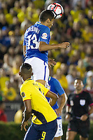 Action photo during the match Brazil vs Ecuador, Corresponding Group -B- America Cup Centenary 2016, at Rose Bowl Stadium<br /> <br /> Foto de accion durante el partido Brasil vs Ecuador, Correspondiante al Grupo -B-  de la Copa America Centenario USA 2016 en el Estadio Rose Bowl, en la foto:  (i-d) Fidel Martinez de Ecuador y Marquinhos de Brasil<br /> <br /> <br /> 04/06/2016/MEXSPORT/Victor Posadas.
