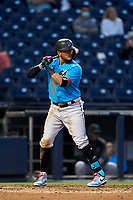 Miami Marlins Miguel Rojas (19) bats during a Major League Spring Training game against the Washington Nationals on March 20, 2021 at FITTEAM Ballpark of the Palm Beaches in Palm Beach, Florida.  (Mike Janes/Four Seam Images)