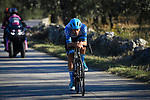 Alex Dowsett (GBR) Israel Start-Up Nation from the breakaway out front alone during Stage 8 of the 103rd edition of the Giro d'Italia 2020 running 200km from Giovinazzo to Vieste, Sicily, Italy. 10th October 2020.  <br /> Picture: LaPresse/Fabio Ferrari | Cyclefile<br /> <br /> All photos usage must carry mandatory copyright credit (© Cyclefile | LaPresse/Fabio Ferrari)