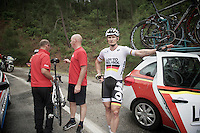 Rain transformed the road surface into a slippery mess and more than 20 riders crashed on the downhill.<br /> (just back into racing after an injury) André Greipel (DEU/Lotto-Belisol) refuses to continue and is decided to leave the race if the stage isn't neutralised.<br /> His bike is already being put onto the roofrack by the team mechanic.<br /> <br /> Tour of Turkey 2014<br /> stage 4
