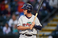 Fort Myers Miracle right fielder Alex Swim (8) at bat during a game against the Bradenton Marauders on April 9, 2016 at McKechnie Field in Bradenton, Florida.  Fort Myers defeated Bradenton 5-1.  (Mike Janes/Four Seam Images)