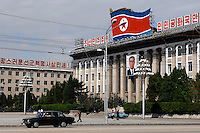 "Kim Il-sung Square in Pyongyang, North Korea. North Korea is one of the last great dictatorships where, ""Dear Leader"" Kim-Jong-il and his father Kim Il-sung ""Great Leader"" are worshipped and there is complete control of a people who are constantly reminded of the evil deeds of the west and USA."