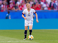 PARIS,  - JUNE 16: Emily Sonnett #14 dribbles during a game between Chile and USWNT at Parc des Princes on June 16, 2019 in Paris, France.