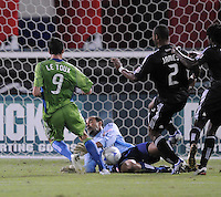 DC United  goalkeeper Josh Wicks (31)  slides to make the save against Seattle Sounders midfielder Sebastien Le Toux (9).  The Seattle Sounders FC defeated DC United 2-1at RFK Stadium, Saturday September 12 , 2009.