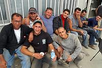 - yard of new Milan fair at Rho-Pero, workers in break....- operai in pausa nel cantiere della nuova fiera di Milano a Rho-Pero