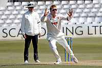 Simon Harmer of Essex appeals successfully for the wicket of Ben Raine during Essex CCC vs Durham CCC, LV Insurance County Championship Group 1 Cricket at The Cloudfm County Ground on 18th April 2021