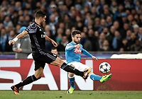 Football Soccer: UEFA Champions League Round of 16 second leg, Napoli-Real Madrid, San Paolo stadium, Naples, Italy, March 7, 2017. <br /> Napoli's Lorenzo Insigne (r) in action with Real Madrid's Pepe (r) during the Champions League football soccer match between Napoli and Real Madrid at the San Paolo stadium, 7 March 2017. <br /> Real Madrid won 3-1 to reach the quarter-finals.<br /> UPDATE IMAGES PRESS/Isabella Bonotto