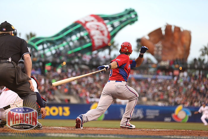 SAN FRANCISCO - MARCH 17:  Angel Pagan of Puerto Rico bats during the World Baseball Classic semi-final game against Japan at AT&T Park on March 17, 2013 in San Francisco, California. (Photo by Brad Mangin)