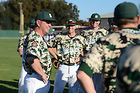Slippery Rock head coach Jeff Messer talks with his team after a game against Kentucky Wesleyan College at Jack Russell Stadium on March 14, 2014 in Clearwater, Florida.  Slippery Rock defeated Kentucky Wesleyan 18-13.  (Mike Janes/Four Seam Images)
