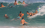 Sandy Beach in Hawaii was over crowded with surfer of all kinds.