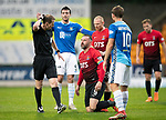 St Johnstone v Kilmarnock…24.11.18…   McDiarmid Park    SPFL<br />Referee Willie Collum ignores the pleas of Kris Boyd<br />Picture by Graeme Hart. <br />Copyright Perthshire Picture Agency<br />Tel: 01738 623350  Mobile: 07990 594431