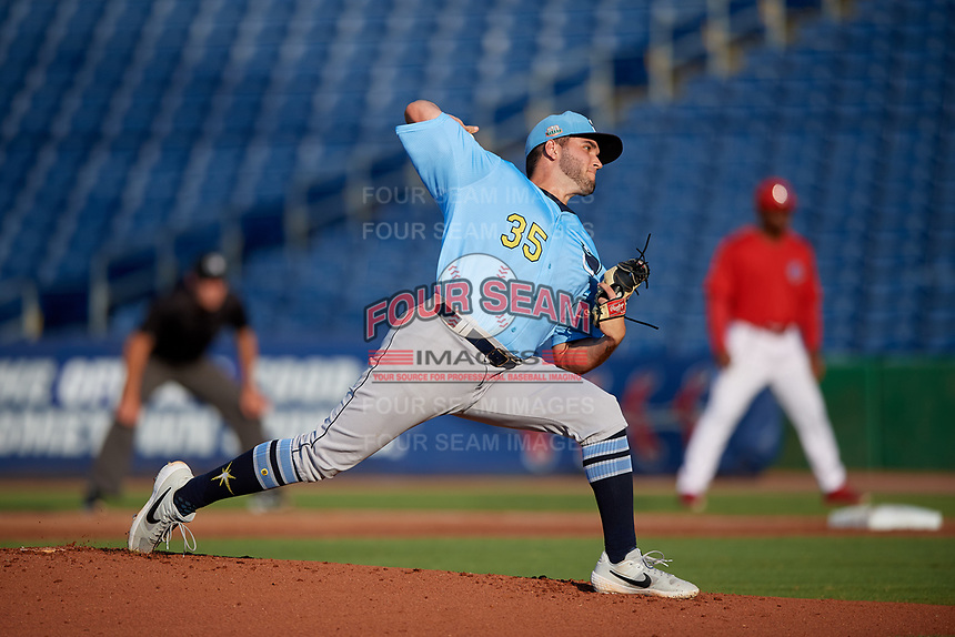 Charlotte Stone Crabs starting pitcher Tommy Romero (35) during a Florida State League game against the Clearwater Threshers on May 17, 2019 at Spectrum Field in Clearwater, Florida.  Charlotte defeated Clearwater 12-4.  (Mike Janes/Four Seam Images)