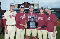 (L-R) Chase Haney (33), Cole Sands (26), Cal Raleigh (35), Tyler Holton (14), and Drew Carlton (46) pose for a photo with the championship trophy following their win over the North Carolina Tar Heels in the 2017 ACC Baseball Championship Game at Louisville Slugger Field on May 28, 2017 in Louisville, Kentucky. The Seminoles defeated the Tar Heels 7-3. (Brian Westerholt/Four Seam Images)