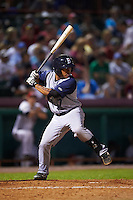 Brooklyn Cyclones third baseman Branden Kaupe (7) at bat during a game against the Tri-City ValleyCats on September 1, 2015 at Joseph L. Bruno Stadium in Troy, New York.  Tri-City defeated Brooklyn 5-4.  (Mike Janes/Four Seam Images)