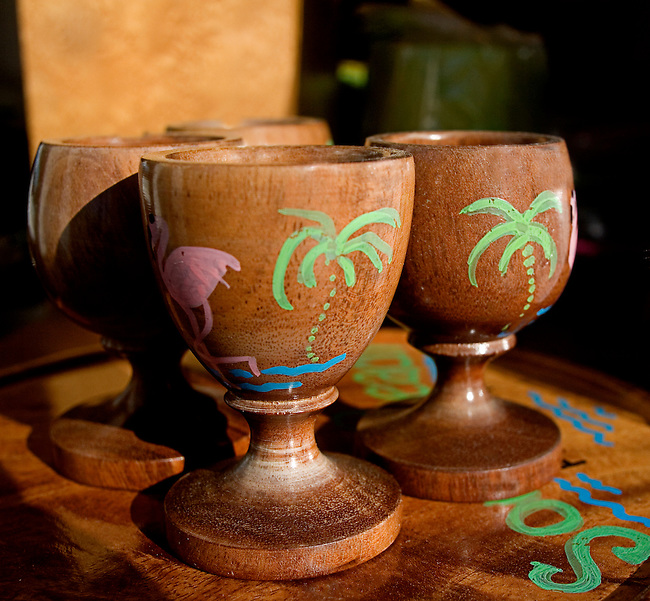 Painted Wooden Cup, Art Deco Welcome, Miami, Florida