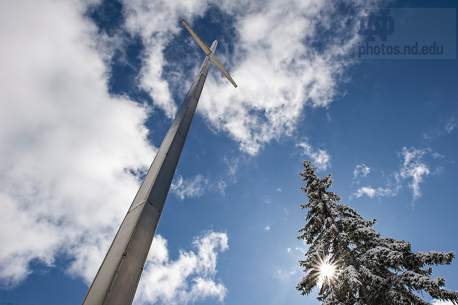 Mar.12, 2014; The large cross in front of Moreau Seminary. Photo by Barbara Johnston/University of Notre Dame