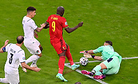 Belgian forward Romelu Lukaku (9) pictured in a duel with Italian goalkeeper Gianluigi Donnarumma (21) during a soccer game during the quarter final Euro 2020 European Championship between the Belgian national soccer team Red Devils and Italy , called the Azzurri , on friday 2 nd of July 2021  in the Allianz Arena in Munchen , Germany . PHOTO SPORTPIX   SPP   DAVID CATRY
