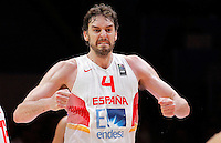 Spain's Pau Gasol reacts during European championship semi-final basketball match between France and Spain on September 17, 2015 in Lille, France  (credit image & photo: Pedja Milosavljevic / STARSPORT)