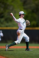 Dartmouth Big Green shortstop Nate Ostmo (5) throws to first base during a game against the Villanova Wildcats on March 3, 2018 at North Charlotte Regional Park in Port Charlotte, Florida.  Dartmouth defeated Villanova 12-7.  (Mike Janes/Four Seam Images)