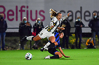 midfielder Megane Vos of Sporting Charleroi pictured being tackled by Brugge's Jody Vangheluwe during a female soccer game between Sporting Charleroi and Club Brugge YLA on the fourth matchday of the 2020 - 2021 season of Belgian Scooore Womens Super League , friday 9 nd of October 2020  in Marcinelle , Belgium . PHOTO SPORTPIX.BE | SPP | DAVID CATRY