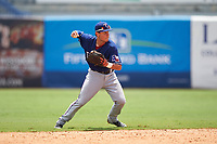 Sal Gozzo (2) of Mark T. Sheehan High School in Wallingford, Connecticut playing for the Texas Rangers scout team during the East Coast Pro Showcase on July 29, 2015 at George M. Steinbrenner Field in Tampa, Florida.  (Mike Janes/Four Seam Images)