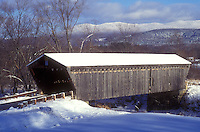 AJ5948, covered bridge, bridge, winter, Scenic view of Gorham or Goodnaugh Covered Bridge ca. 1841 on a sunny day in winter in Pittsford in Rutland County in the state of Vermont.