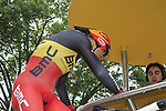 Belgian National Champion Philippe Gilbert (BEL) BMC Racing Team signs on at the start of the Prologue of the 99th edition of the Tour de France 2012, a 6.4km individual time trial starting in Parc d'Avroy, Liege, Belgium. 30th June 2012.<br /> (Photo by Eoin Clarke/NEWSFILE)