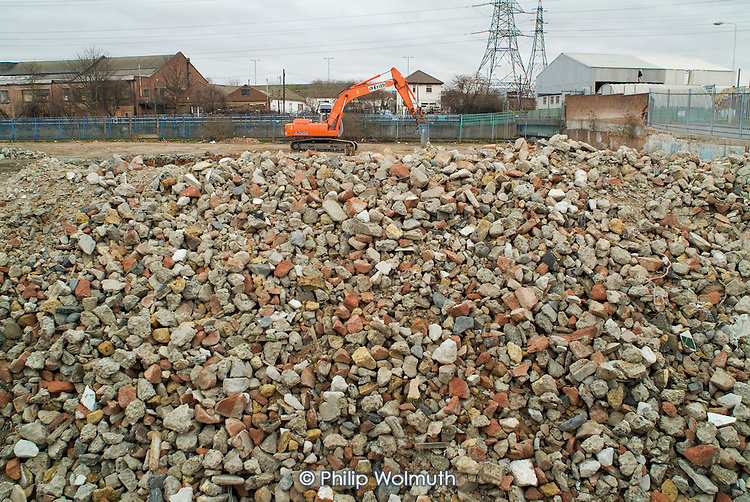Contaminated land being cleared for the building of a new Aquatic Centre at Stratford, East London, proposed site of the 2012 Olympics.