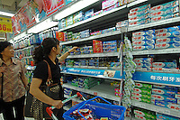 Various brand of toothpastes for sale in a supermarket in Kunming, China. Much exported toothpaste from China is believed to be full of dangerous and harmful substances. The U.S. Food and Drug Administration (FDA) warned consumers to avoid using tubes of toothpaste labeled as made in China recently..30 May 2007