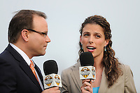 Dean Linke and Jenn Hildreth of Fox Soccer Chanel. FC Gold Pride defeated Sky Blue FC 1-0 during a Women's Professional Soccer (WPS) match at Yurcak Field in Piscataway, NJ, on May 1, 2010.