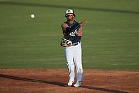 Charleston Boiled Peanuts shortstop Abiezel Ramirez (2) on defense against the Augusta GreenJackets at Joseph P. Riley, Jr. Park on June 26, 2021 in Charleston, South Carolina. (Brian Westerholt/Four Seam Images)