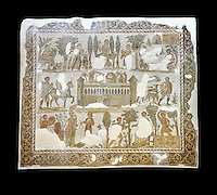 Early 5th century AD Roman mosaic depiction of the farm of Seigneur Julius . From Cathage, Tunisia.  The Bardo Museum, Tunis, Tunisia. Black background