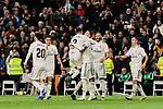 Real Madrid's Dani Carvajal (L) and Sergio Ramos (R) celebrate goal during La Liga match between Real Madrid and Valencia CF at Santiago Bernabeu Stadium in Madrid, Spain. December 01, 2018. (ALTERPHOTOS/A. Perez Meca)