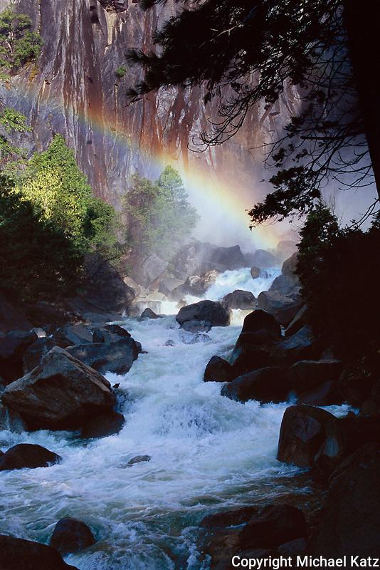 Morning Rainbow at Lower Yosemite Fall.