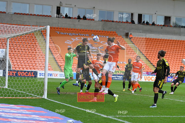 09/05/2021 Sky Bet League 1 Blackpool v Bristol Rovers  <br /> <br /> Alex Rodman clears under pressure from James Husband