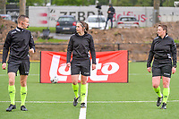assistant referee Cedric Beheydt , referee Caroline Lanssens , assistant referee Ella De Vries pictured before a female soccer game between Sporting Charleroi and Eendracht Aalst on the 8th matchday in play off 2 of the 2020 - 2021 season of Belgian Scooore Womens Super League , tuesday 18 th of May 2021 in Marcinelle , Belgium . PHOTO SPORTPIX.BE | SPP | STIJN AUDOOREN