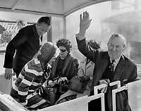 Beaming. Prime Minister Lester Pearson, obviously elated with the success of Expo, takes a ride on the fair's mini-rail. He said his earlier doubts about the wisdom of holding Expo on islands in the St. Lawrence had evaporated and all Canadians could be very proud of the fair.<br /> <br /> Photo : Boris Spremo - Toronto Star archives - AQP