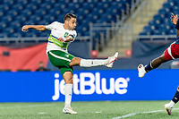 FOXBOROUGH, MA - AUGUST 26: Carlos Gomez #10 of Greenville Triumph SC takes a shot during a game between Greenville Triumph SC and New England Revolution II at Gillette Stadium on August 26, 2020 in Foxborough, Massachusetts.