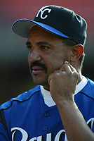 Kansas City Royals Manager Tony Pena during a 2003 season MLB game at Dodger Stadium in Los Angeles, California. (Larry Goren/Four Seam Images)