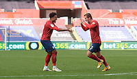 Huddersfield Town's Harry Toffolo celebrates scoring his side's first goal with team-mate Huddersfield Town's Josh Koroma<br /> <br /> Photographer Ian Cook/CameraSport<br /> <br /> The EFL Sky Bet Championship - Swansea City v Huddersfield Town - Saturday 17th October 2020 - Liberty Stadium - Swansea<br /> <br /> World Copyright © 2020 CameraSport. All rights reserved. 43 Linden Ave. Countesthorpe. Leicester. England. LE8 5PG - Tel: +44 (0) 116 277 4147 - admin@camerasport.com - www.camerasport.com