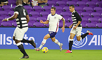 ORLANDO CITY, FL - JANUARY 31: Aaron Herrera #2 of the United States turns and moves with the ball during a game between Trinidad and Tobago and USMNT at Exploria stadium on January 31, 2021 in Orlando City, Florida.