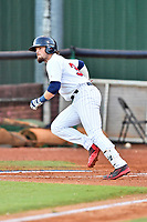 Elizabethton Twins second baseman Carson Crites (39) runs to first base during game one of the Appalachian League Championship Series against the Pulaski Yankees at Joe O'Brien Field on September 7, 2017 in Elizabethton, Tennessee. The Twins defeated the Yankees 12-1. (Tony Farlow/Four Seam Images)