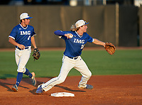 IMG Academy Ascenders shortstop Jackson Werth (16) throws to first base as second baseman Jack Thompson (6) backs up the play during a game against the Montverde Academy Eagles on April 8, 2021 at IMG Academy in Bradenton, Florida.  (Mike Janes/Four Seam Images)