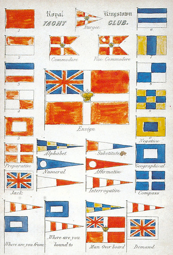 The historic flags of the Royal St George YC/Royal Kingstown YC, as collated in 1847 and published in the Club History in 1988