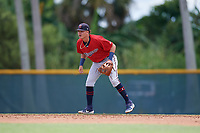 GCL Twins shortstop Keoni Cavaco (9) during a Gulf Coast League game against the GCL Pirates on August 6, 2019 at Pirate City in Bradenton, Florida.  GCL Twins defeated the GCL Pirates 1-0 in the second game of a doubleheader.  (Mike Janes/Four Seam Images)