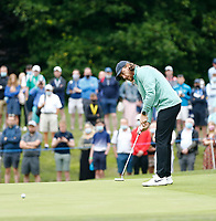 2nd July 2021; Mount Juliet Golf Club, Kilkenny, Ireland; Dubai Duty Free Irish Open Golf, Day Two; Tommy Fleetwood of England takes his putt on the 10th green