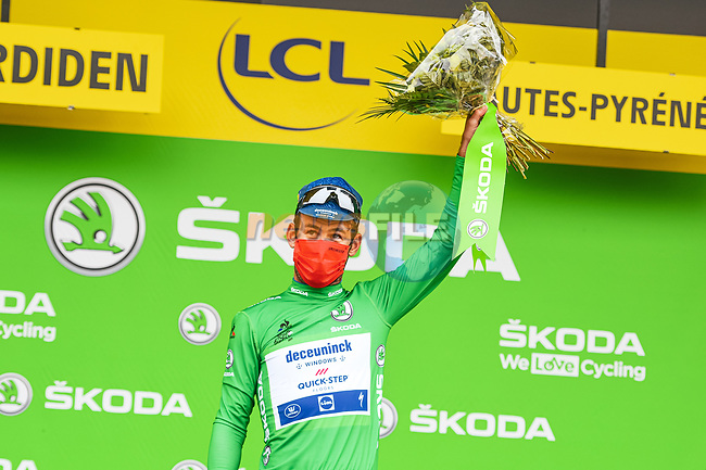 Mark Cavendish (GBR) Deceuninck-Quick Step retains the points Green Jersey at the end of Stage 18 of the 2021 Tour de France, running 129.7km from Pau to Luz-Ardiden, France. 15th July 2021.<br /> Picture: A.S.O./Charly Lopez | Cyclefile<br /> <br /> All photos usage must carry mandatory copyright credit (© Cyclefile | A.S.O./Charly Lopez)